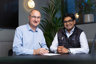 Oxford VR signs landmark investment deal, Feb 12th 2020. Pictured: Barnaby Perks, Founding CEO, Oxford VR and Ash Patel, Principal, Optum Ventures.