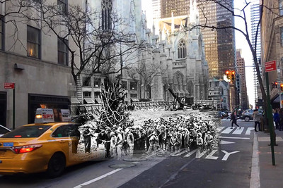 Augmented reality technology offers nostalgic New Yorkers a historical view of the very first Rockefeller Center Christmas Tree, originally near St. Patrick's Cathedral in 1933.