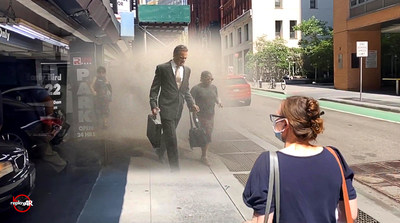 Augmented reality (AR) technology reveals New Yorkers on Beekman Street as they flee downtown Manhattan through smoke and ash. (PRNewsfoto/ReplayAR)